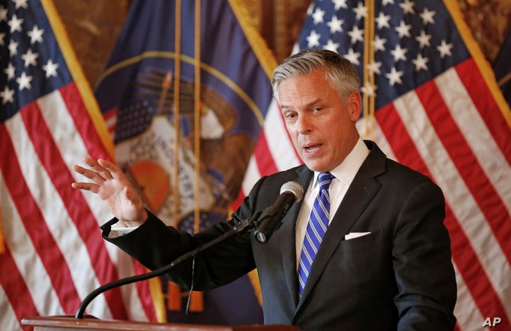 FILE - Jon Huntsman Jr., U.S. ambassador to Russia, speaks during a ceremonial swearing-in event Oct. 7, 2017, in Salt Lake City, Utah, prior to his departure for Moscow.