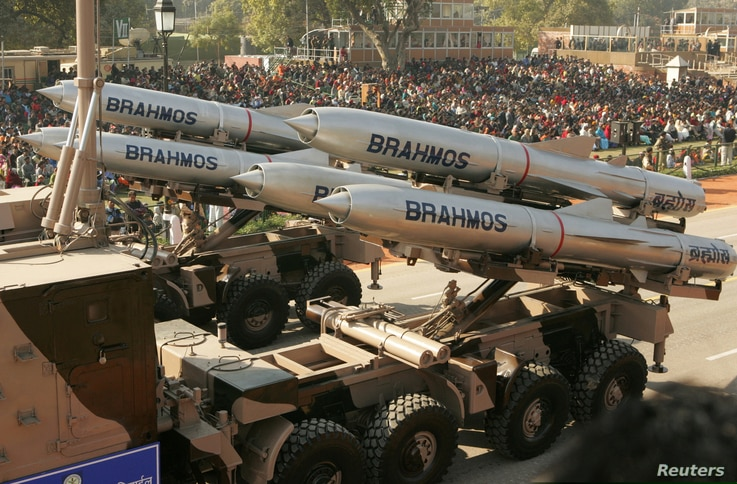 India's Brahmos supersonic cruise missiles, mounted on a truck, pass by during a full dress rehearsal for the Republic Day parade in New Delhi, January 23, 2006.