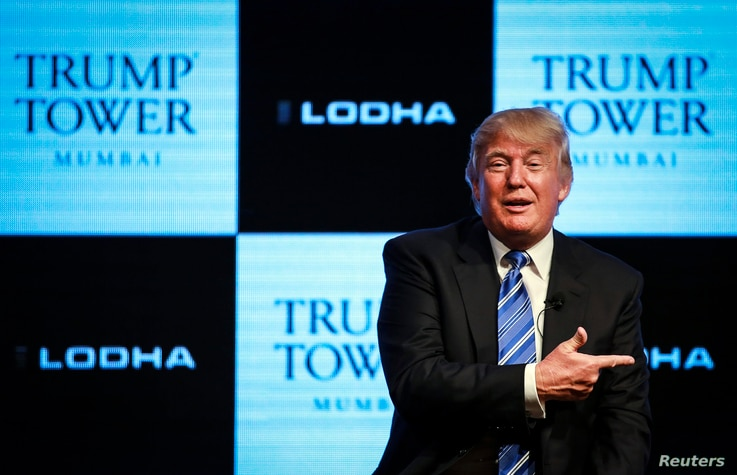 Real estate developer Donald Trump speaks during a news conference to announce his first project in Mumbai August 12, 2014.