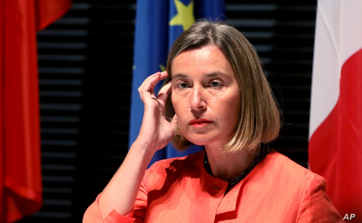 European Union High Representative for Foreign Affairs Federica Mogherini addresses the media after closed-door talks on the Iranian nuclear program in Vienna, July 6, 2018.