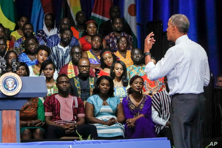 President Barack Obama addresses a Young African Leaders Initiative gathering in Washington, Aug. 3, 2016.