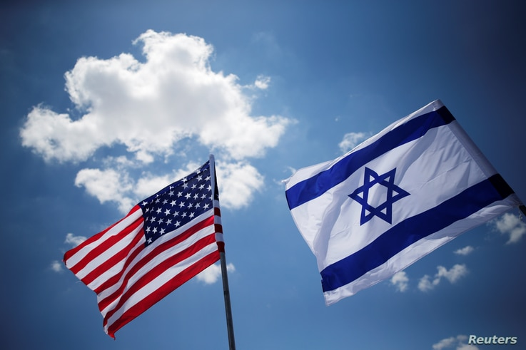 American and Israeli flags are seen during a dress rehearsal of the arrival ceremony to be held to welcome U.S. President Donald Trump upon his arrival, at Ben Gurion International Airport in Lod, Israel, May 21, 2017.