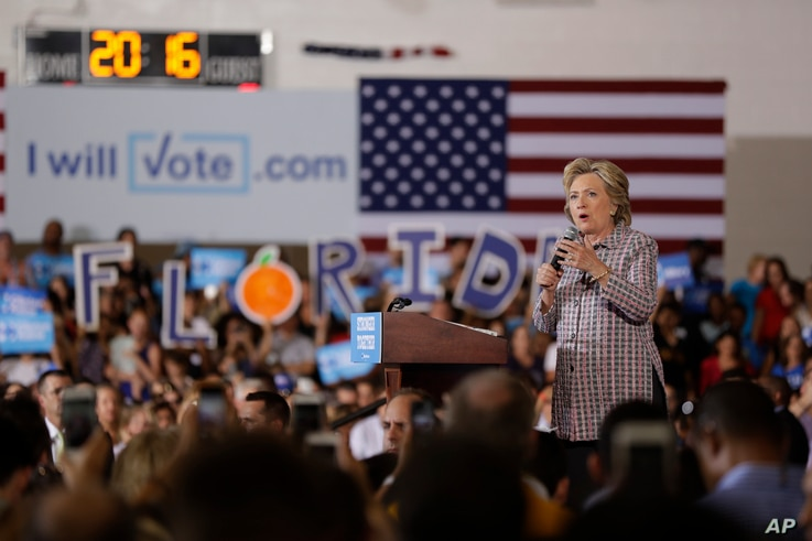 Democratic presidential candidate Hillary Clinton speaks during a campaign stop in Coral Springs, Fla., Sept. 30, 2016.