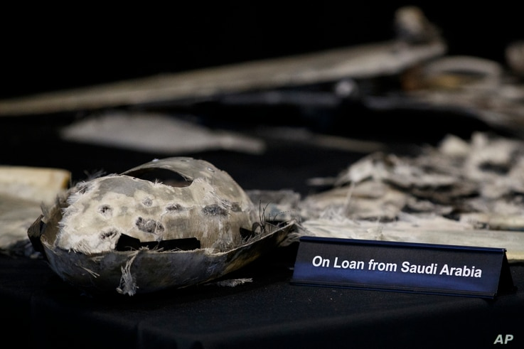 "Debris from a UAV (Qasef) is displayed with a sign that reads ""On Loan From Saudi Arabia"" at the Iranian Materiel Display (IMD) at Joint Base Anacostia-Bolling, in Washington, Nov. 29, 2018. The presentation displays weapons and fragments of weapons ..."