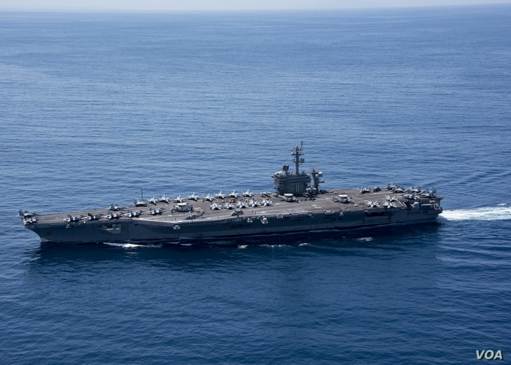 The aircraft carrier USS Carl Vinson (CVN 70) transits the Indian Ocean, April 15, 2017.