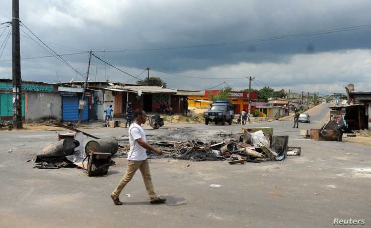 The streets of Libreville, Gabon, calmed down Friday but barricades remain following two days of deadly protest over presidential election results. Soldiers were deployed Friday.