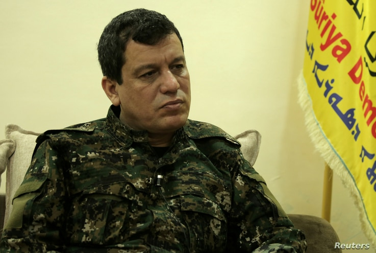 FILE PHOTO: Mazloum Kobani, SDF commander in chief is pictured during an interview with Reuters in Ain Issa, Syria, Dec. 13, 2018
