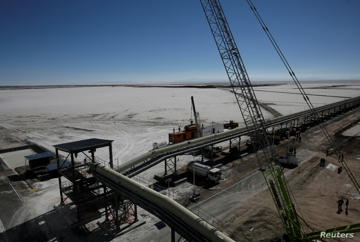 FILE - A view of a portion of an industrial plant in Llipi on the salt lake of Uyuni, Potosi, Bolivia, Oct. 7, 2018.
