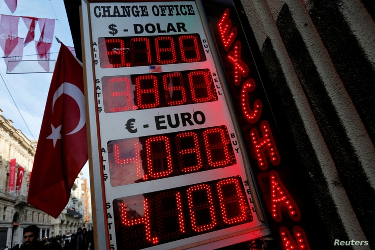 A board showing the currency exchange rates of the U.S. dollar and the Euro against Turkish lira is on display at a currency exchange office in Istanbul, Jan. 12, 2017.