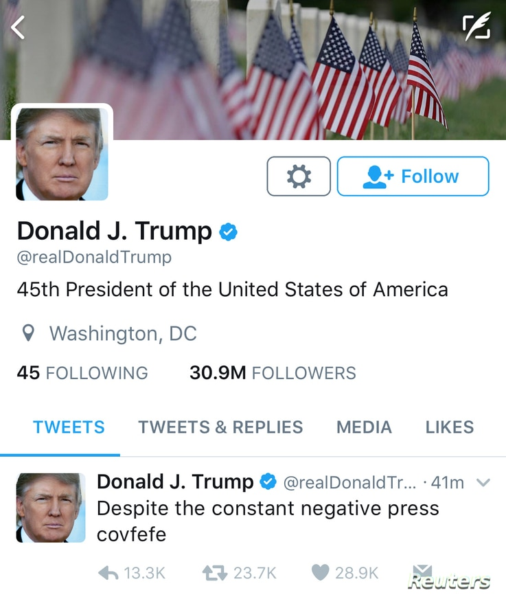 """A late night Tweet is seen from the personal Twitter account of U.S. President Donald Trump, May 31, 2017. The Tweet reads, """"Despite the constant negative press covfefe"""""""