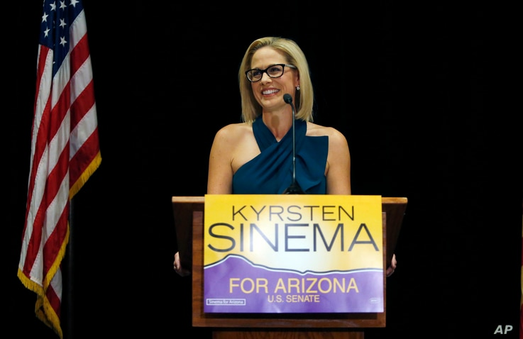 U.S. Sen.-elect Kyrsten Sinema, Democrat-Arizona, declares victory over Republican challenger U.S. Rep. Martha McSally, Nov. 12, 2018, in Scottsdale, Arizona.