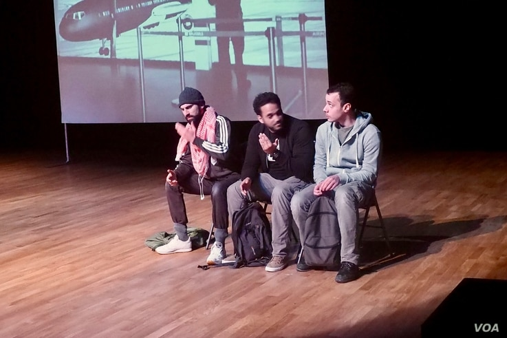 """A play called """"Jihad,"""" which tells the story of young Belgian Muslims who are radicalized in Syria, is being performed in France. Adel Djemai, right, says, """"The play does not pretend to provide any answers or solutions. But it tries to get the audien..."""