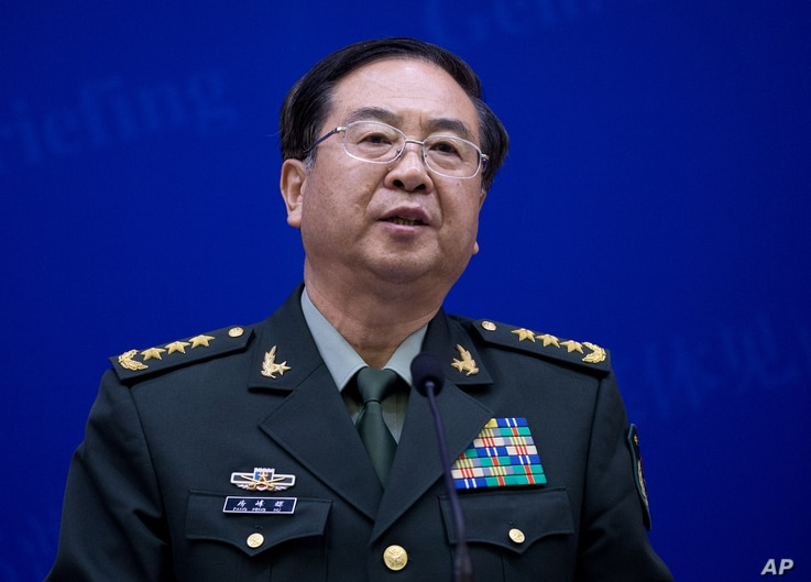 China's Chief of the General Staff Gen. Fang Fenghui speaks during a press briefing with U.S. Joint Chiefs Chairman Gen. Martin Dempsey at the Bayi Building in Beijing, China, April 22, 2013.