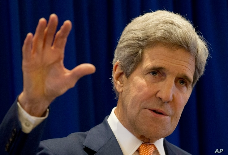 U.S. Secretary of State John Kerry gestures as he speaks during a press briefing concluding his visit to Neypyitaw to participate 47th Association of Southeast Asian Nations (ASEAN) Foreign Ministers meeting and 21st ASEAN Regional forum (ASEAN) in N...