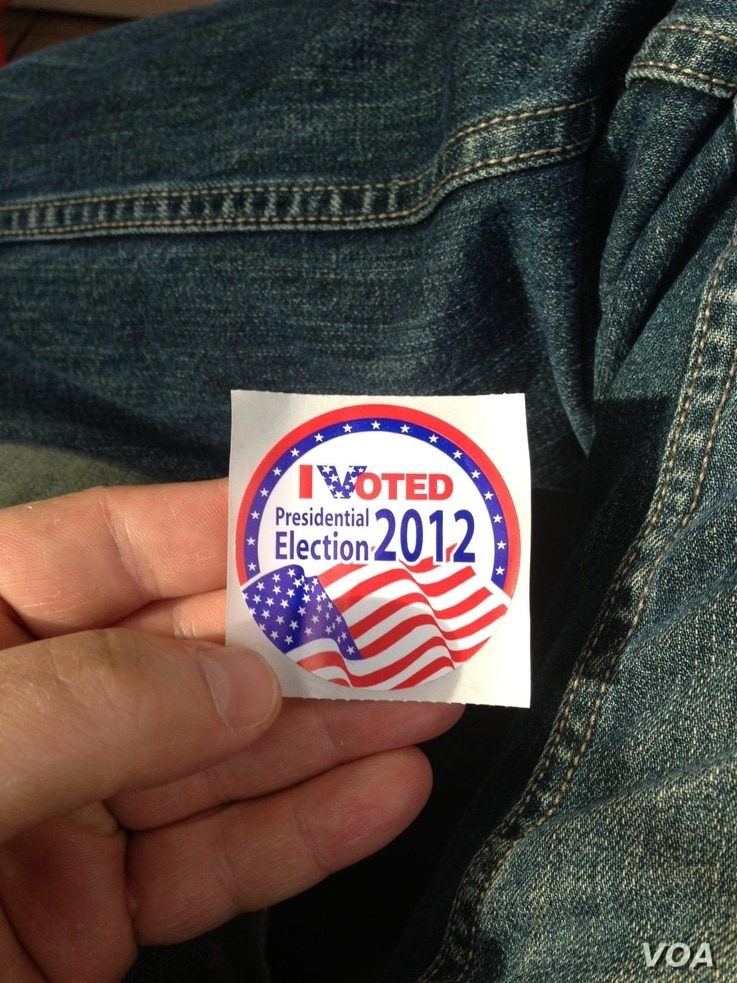 'I voted' stickers like the one pictured are often handed out to those who have cast their vote.