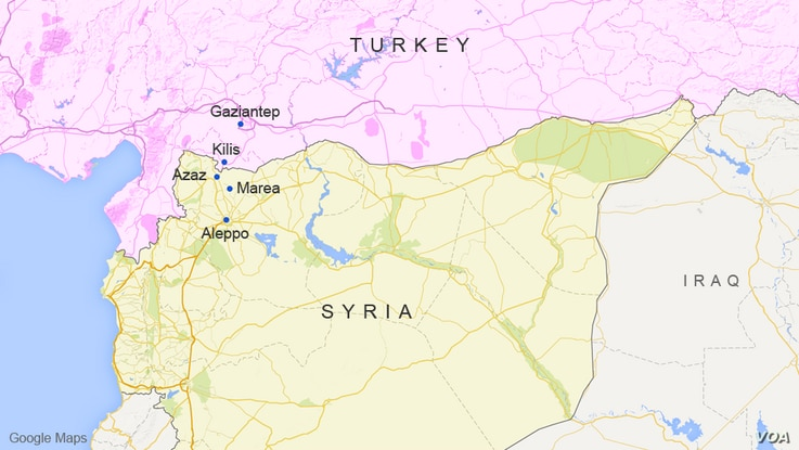 The Syrian towns of Azaz and Marea, near the Turkey border