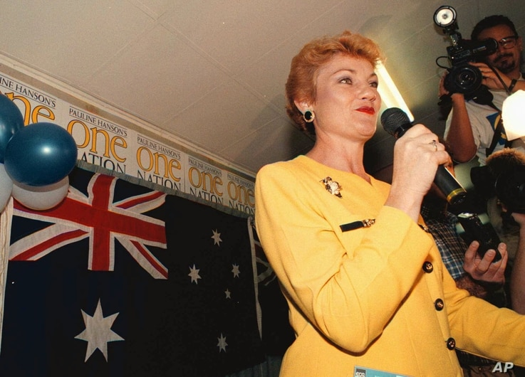 FILE - Australian One Nation party leader Pauline Hanson speaks to supporters in Ipswich, Australia, near Brisbane, after polling in the Queensland state elections Saturday, June 13, 1998.