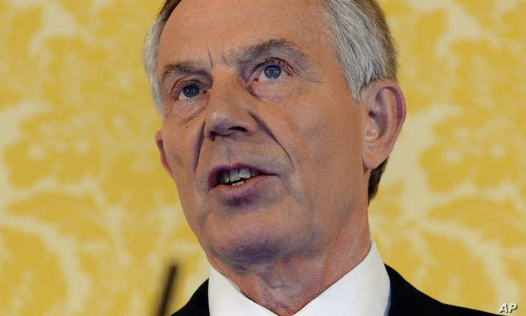 British former Prime Minister Tony Blair holds a press conference at Admiralty House, London, after retired civil servant John Chilcot presented The Iraq Inquiry Report on July 6, 2016.