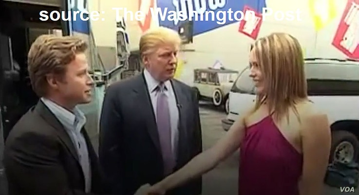 YouTube screen grab from video obtained by The Washington Post of lewd conversation about women between Donald Trump and Billy Bush.