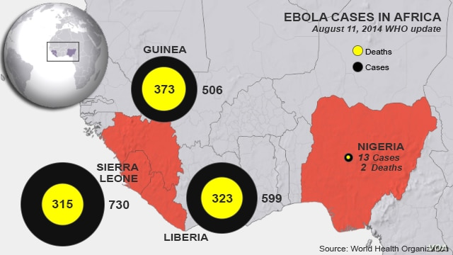 Ebola outbreaks, deaths in West Africa, as of August 11, 2014