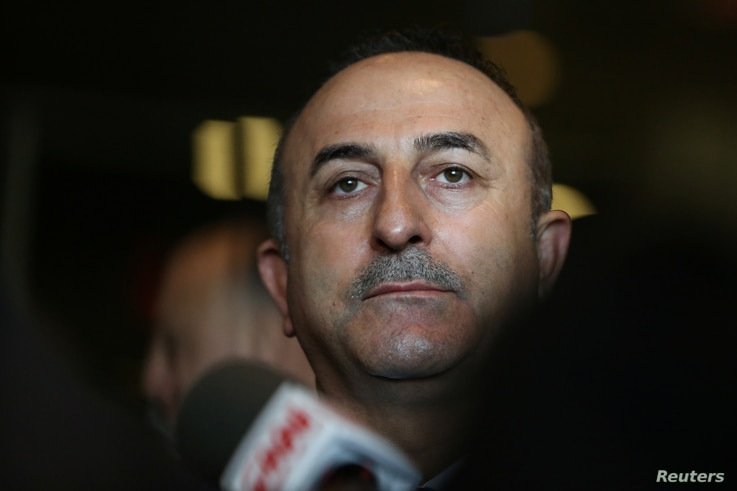 FILE - Turkish Foreign Minister Mevlut Cavusoglu speaks to reporters after the U.N. General Assembly emergency special session on U.S. President Donald Trump's decision to recognize Jerusalem as Israel's capital in Manhattan, New York, U.S., Dec. 21,...