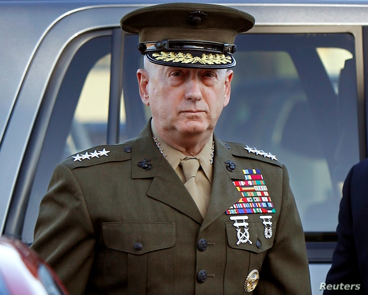 FILE - Marine Corps four-star general James Mattis arrives to address at the pre-trial hearing of Marine Corps Sgt. Frank D. Wuterich at Camp Pendleton, California, March 22, 2010.