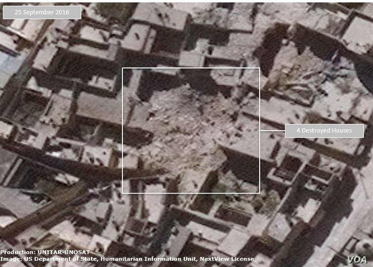 Damage assessment - destroyed homes in Al-Qasileh District of Aleppo, Syria. (Satellite Image produced by UNITAR-UNOSAT)