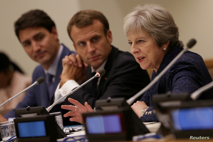 British Prime Minister Theresa May speaks during a session on girls' education on the sidelines of the General Assembly at U.N. headquarters in New York, Sept. 25, 2018.