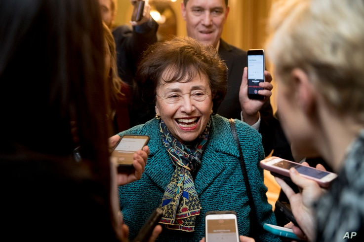 FILE - House Appropriations Committee Chair Nita Lowey, D-N.Y., speaks to reporters as she walks out of a closed-door meeting on Capitol Hill, Feb. 11, 2019.
