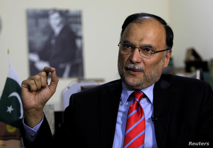 Ahsan Iqbal Pakistan's Minister of Planning and Development speaks with a Reuters correspondent during an interview in Islamabad, June 12, 2017.