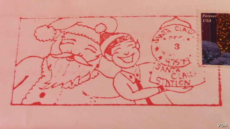 Letters from Santa are cancelled with a special holiday postmark.