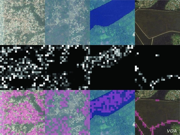 By column, four different convolutional filters (which identify, from left to right, features corresponding to urban areas, nonurban areas, water, and roads) in the convolutional neural network model used for extracting features. (Source - Sciencemag...