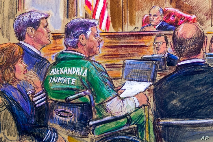 This courtroom sketch depicts former Trump campaign chairman Paul Manafort, center in a wheelchair, during his sentencing hearing in federal court before Judge T.S. Ellis III in Alexandria, Va., March 7, 2019.