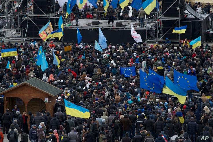 Protestors wave flags during a protest at Independence Square in Kyiv, Dec. 2, 2013.