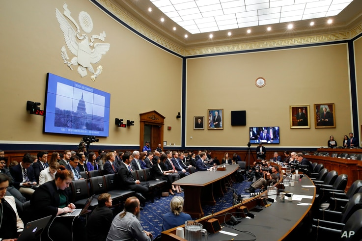 Facebook CEO Mark Zuckerberg testifies before a House Energy and Commerce hearing on Capitol Hill in Washington, April 11, 2018, about the use of Facebook data.