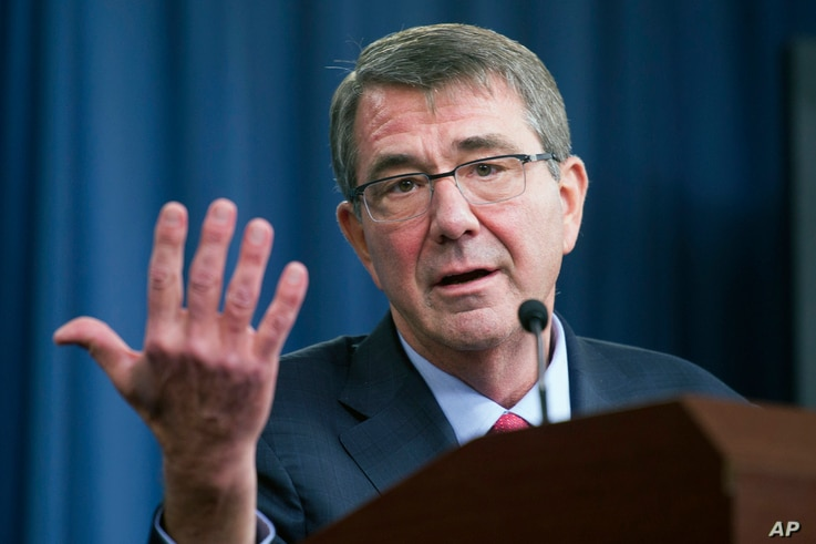 FILE - Defense Secretary Ash Carter at a news conference at the Pentagon, Jan. 28, 2016. The Pentagon announced a pilot program seeking properly vetted hackers to attack its public web pages.