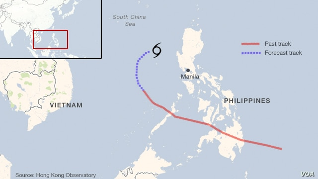 Typhoon Bopha track near the Philippines.