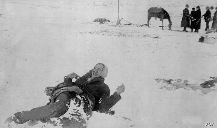 """Iconic photo of Minneconjou Lakota leader Si Tanka (Spotted Elk, nicknamed by cavalry """"Big Foot"""") frozen in the snow following the 1890 massacre at Wounded Knee.  , one of"""