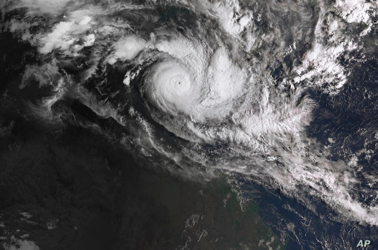In a satellite image acquired from the Australian Bureau of Meteorology, Cyclone Trevor moves over the Northern Territory captured at 0810am AEDT, March 19, 2019.