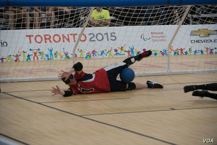 Jen Armbruster defends the goal for Team USA at the 2015 Parapan Games in Toronto.