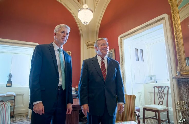 Supreme Court Justice nominee Judge Neil Gorsuch meets with Senate Minority Whip Richard Durbin of Illinois  on Capitol Hill, Feb. 14, 2017.