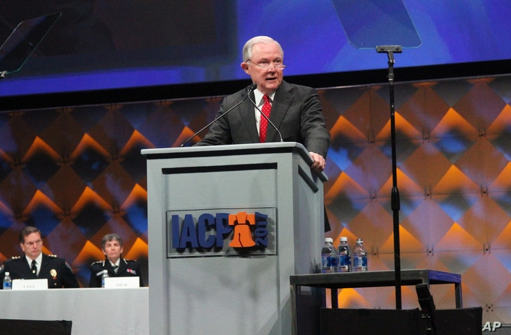 U.S. Attorney General Jeff Sessions speaks at the International Association of Chiefs of Police conference, Oct. 23, 2017, in Philadelphia.