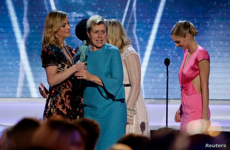 """24th Screen Actors Guild Awards – Show – Los Angeles, California, U.S., 21/01/2018 – Frances McDormand reacts as she is presented the award for Outstanding Performance by a Cast in a Motion Picture for """"Three Billboards Outside Ebbing, Missouri..."""