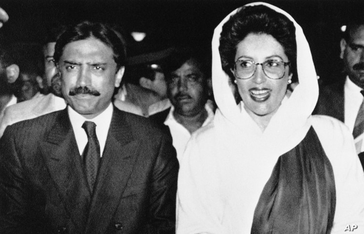 Pakistani Prime Minister Benazir Bhutto with her husband Asif Zardari during dinner party at the state guest house  in Islamabad, April 19, 1990.