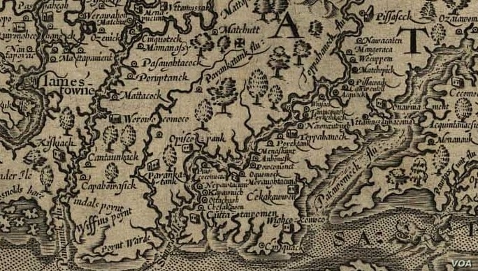 Detail, Captain John Smith's 1624 map of Virginia, showing Rappahannock River and the list of tribes living on its banks.