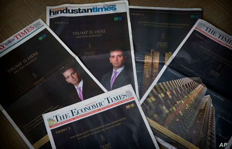 Ads showcasing  Donald Trump Jr and  Trump Towers are featured in major newspapers in New Delhi, India, Feb. 20, 2018.