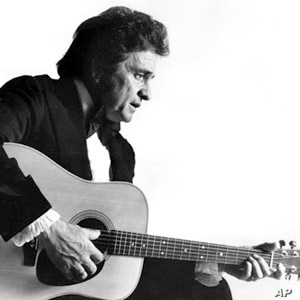 This is a 1977 photo of country western musician Johnny Cash.