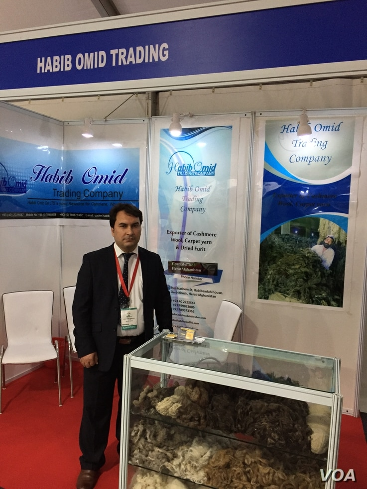 """Abdul Qader Habibzadah says the security situation in his country and transit problems with India are the biggest impediment to boosting business. He's pictured at the """"Passage to Prosperity"""" trade show in New Delhi, Sept. 27, 2017. (A. Pasricha/VOA)..."""