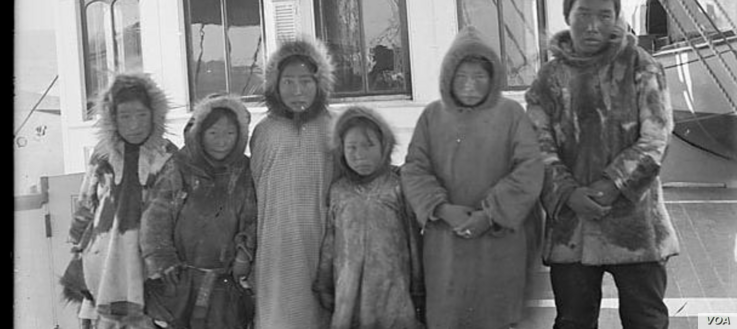 Alaska Native children on board a ship to Carlisle Indian Industrial School, 1879.  Photo by John N. Choate. Photo Lot 81-12 06834400, National Anthropological Archives, Smithsonian Institution