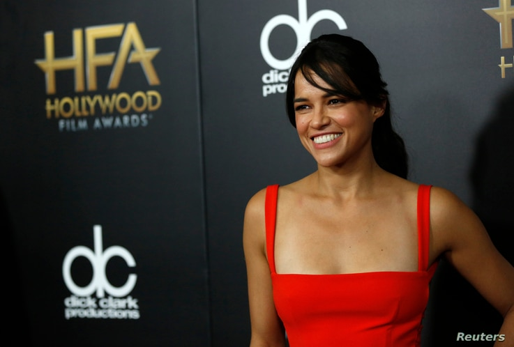Actor Michelle Rodriguez arrives at the Hollywood Film Awards in Beverly Hills, Calif., Nov. 1, 2015.